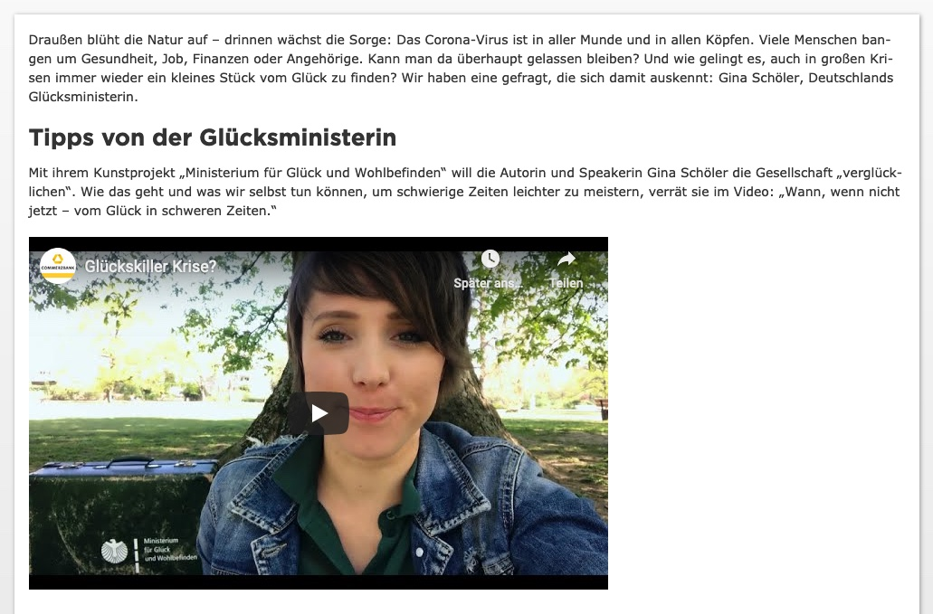 blog Commerzbank Gluecksministerin v2 04 2020 - Eine Nachricht von der Glücksministerin