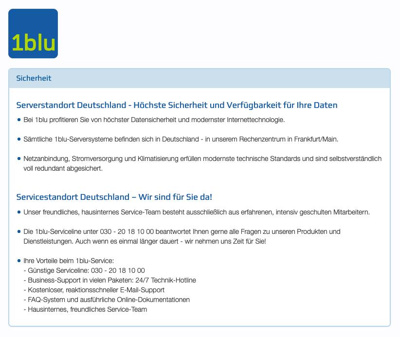 1blu Serverstandort eutschland - datenschutzerklärung